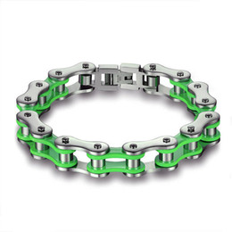 Wholesale Motorcycle Colours - whole saleStainless steel Colours Motorcycle Biker Chain Bangles Green&Red&Orange Colors bicycle biker Chain bracelets Girls Boys bangle