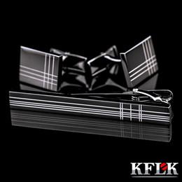 Nickel-clips online-Kflk Hohe Qualität Manschettenknöpfe Krawattenklammer Für Krawattennadel Für Herren Krawattenklammern Manschettenknöpfe Krawattenklammer Set Schmuck Freies Verschiffen Weihnachtsgeschenk