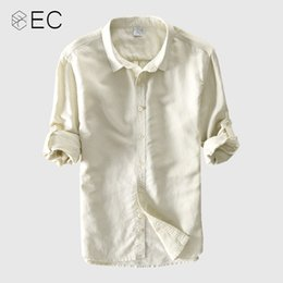 84900a79ebec EC2018 Summer New Casual Shirts Men Breathable Cotton Linen Fashiom Three  Quarter Slim Fit Brand Clothing T074