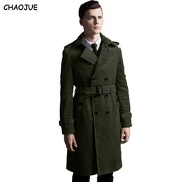 04f67f199d4 CHAOJUE Long corduroy trench coat for mens 2018 long sleeve plus size  double breasted jacket male cotton over coat for gifts