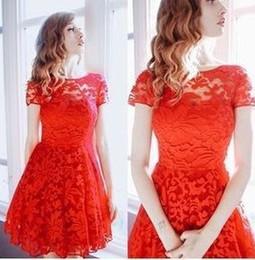 Vestido de fiesta midi sexy rojo online-5xl Plus Size Dress Fashion Women Elegant Sweet Hallow Out Lace Dress Sexy Party Princess Slim Summer Dresses Vestidos Red Blue Wholesale