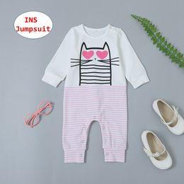 Gato tutu rosa online-Baby Pink Cat Rompers INS Infant Girl Boy Monos Niños Unisex Primavera Otoño Body de rayas de manga larga