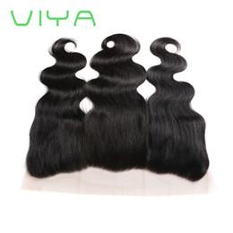 volle 12 zoll verschluss Rabatt VIYA Menschenhaar 13x4 Zoll Full Lace Frontal Schließung mit vorgepflückten Haarlinie Baby Haarverlängerung Großhandel