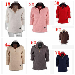 Wholesale Oversized Sweaters Wholesale - Women Sherpa Pullover Sweaters Women Casual Sherpa Fleece Outwear Sweatshirt Oversized Half zipper Sweatshirt 7 color LJJK866