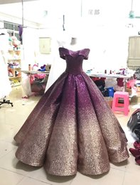 Wholesale Cheap Short Red Quinceanera Dresses - Purple Sequined Prom Dresses Long Gradient 2018 Cheap V neck Off shoulders Short Sleeve Ball Gown Corset Back Ombre Quinceanera Evening Gown