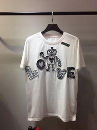 Wholesale Robot Love - 2018 New Summer Men Women Tshirt Hand Embroidered Logo Love Letter Stereo Robot Short Sleeve Casual Loose T-Shirt Men Women Tops Tees