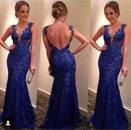 Wholesale Evening Dresses Full Skirt - Sexy Backless Navy Blue 2018 Mermaid Prom Dresses Scoop Illusion Sleeveless Full Lace Appliques Tiered Skirts Floor-length evening dresses