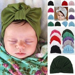 infant bunny hat Promo Codes - New Europe US Baby Hats Bunny Ear Caps Turban Knot Head Wraps Infant Kids India Hats Ears Cover Childen Cotton Beanie