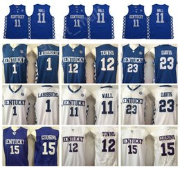Kentucky Wildcats Jerseys College Basketball 15 DeMarcus Cousins 11 John  Wall 23 Anthony Davis 1 Skal Labissiere 12 Karl Karl-Anthony Towns f187ea628