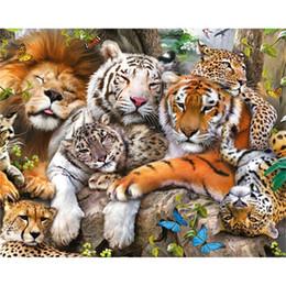 2019 pintura 3d tigre Tiger Lion Leopard 5D Diamante Pintura DIY Diamante Bordado Animal Cross Stitch Mosaico Cuadrado Rhinestone 3D Imagen Regalo Decoración pintura 3d tigre baratos