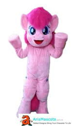 2019 marrone husky cane Formato adulto Carino Little pink Pony Pinkie Pie costume della mascotte del fumetto Costumi della mascotte per bambini Festa di compleanno Mascotte personalizzate su Arismascots