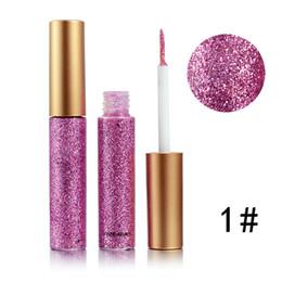 Liner eyeliner gel online-Nuova penna per eyeliner liquido glitter glitter per trucco 10 colori Metallic Shine Eye Liner