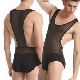 Canada Hommes Mesh Sexy Exotique Nylon Translucide Sous-Vêtements Bodys Onesies Shapers Body Suits pour homme supplier exotic nylons Offre
