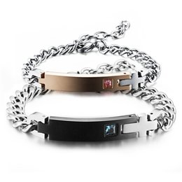 Wholesale Fishing Pieces - 1 Pair Stainless Steel His Queen Her King Bracelet Matching Set Titanium Wristband Couple Bracelet 2 Pieces