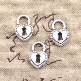Wholesale Tibetan Key Charms - whole sale8pcs Charms padlock heart key 17*11mm Antique Making pendant fit,Vintage Tibetan Silver,DIY bracelet necklace