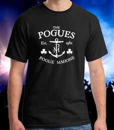 Camisetas irlandês on-line-PRETO T-SHIRTS OS POGUES Mahone Punk Folk Irish Band S-3XL dos homens