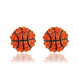 Wholesale Competition Sports - Fashion Sports competition ball stud Earrings crystal Rhinestone basketball baseball Rugby softball volleyball Earring For women Jewelry