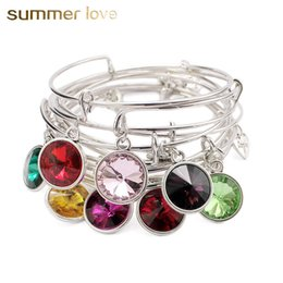Wholesale Birthstone Colors - whole saleCharm Birthstone Bracelet Jewelry 12 Colors Crystal Stone Silver-Color Expandable Wire Love Bracelets & Bangles Birthday Gift