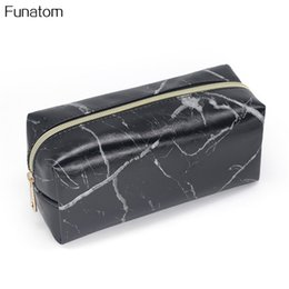 291260941bb1 vanity storage case Promo Codes - Women Black PU Leather Mable Pattern Makeup  bag Fashion Zipper