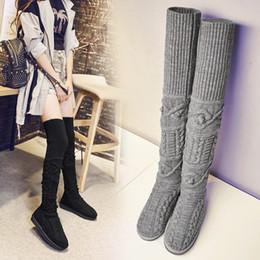Wholesale Woollen Dresses - FACNDINLL winter shoes fashion woollen round toe warm snow over the knee boots flat platform heels women sexy ladies dress boots