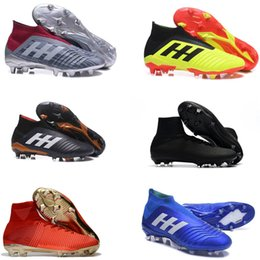 Wholesale black ankles - 2018 Soccer Cleats Mercurial Superfly Predator 18+x Pogba FG Accelerator DB Soccer Shoes High Ankle Cristiano Ronaldo Mens Football Boots