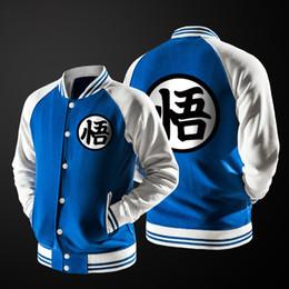 Sudadera del equipo universitario online-Algodón Nuevo Anime japonés Dragon Ball Goku Varsity Jacket Otoño Casual Sudadera con capucha Chaqueta de abrigo Chaqueta de béisbol de la marca