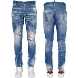 Pantalone da cowboy in tessuto slim fit con stampa aderente stampata in tinta unita da uomo slim fit in denim da