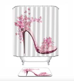 Hochhackiges schuhdruckgewebe online-Rosa hochhackige Schuhe 3D-Muster drucken benutzerdefinierte wasserdichte Badezimmer moderne Duschvorhang Polyester Stoff Badezimmer Vorhang Tür Matte Sets
