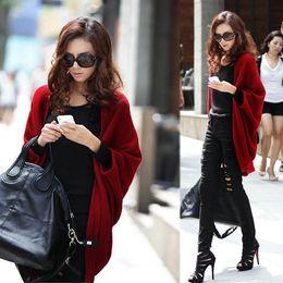 Wholesale Crochet Poncho Wholesale - Wholesale-Gray Black Red Fashion 2016 Cardigan Women Sweater casual Crochet Poncho Plus Size Coat Women long Sweaters vestidos Cardigans
