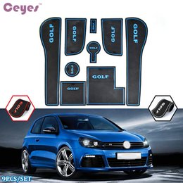 Wholesale Rubber Golf Mat - Auto Car Door Mat For Volkswagen GOLF 7 GTI 2014-2017 Gate Slot Pad Anti-slip Cup Pad Rubber Mats Car Styling 9pcs set