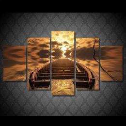 landschaftsmalerei boote Rabatt Bilder HD Printing Leinwand Gemälde Wandkunst Für Wohnzimmer Cuadros Bilder 5 Panel Boat Landschaft Moderne Dekoration Malerei