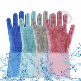 силиконовые перчатки Скидка Силиконовые магия очистки перчатки кисти 10 цветов скруббер пыли блюдо стиральная Перчатки резиновые термостойкие мыть перчатки 10 пара T1i1062