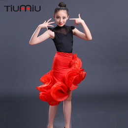 Trajes de salsa para crianças on-line-Vestido de dança latina para meninas crianças salsa para o desgaste da competição trajes de saias vermelhas dança de salão vestidos de dança do palco do miúdo
