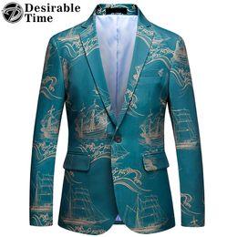 casacos chineses para homens Desconto Homens Blazer Verde Impresso Moda 2018 Estilo Chinês Mens Slim Fit Blazers Casuais 5XL 6XL Masculino Blazer e Terno Jaqueta DT527