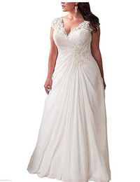 2019 vestidos brancos de mão cheia MAGGIEISAMAZING atacado v pescoço simples chiffon Applique vestido de renda trem da varredura plus size uma linha de vestido de noiva