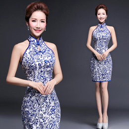 Wholesale sexy cheongsam mini - Fashionable halter summer dress Chinese Tang suit casual short vintage Chinese traditional cheongsam blue and white porcelain party dress
