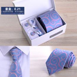 2019 grossistes cravates pour hommes bowties 2018 nouveaux hommes de haute qualité six pièces costume d'affaires noir 8cm rayé cravate marié cadeau de mariage coffret