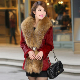 Wholesale Raccoon Leather Fur Coat - 2016 Popular large raccoon fur collar Slim Leather grass Rex wool coat and long sections dignified atmosphere
