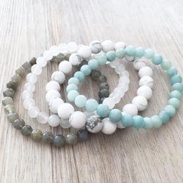 Howlite Blanc J-ade Labradorite Amazonite Bracelet Ensemble de perles en pierre naturelle Bracelets Empilables Ensemble de 4 Bracelet Pour Hommes ? partir de fabricateur