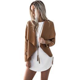 Wholesale Brown Open Jacket Women - Women Autumn Cardigan Jacket Women Long Sleeve Outerwear Coats 2018 Turn-down Collar Winter Casual Open Stitch Women Coats