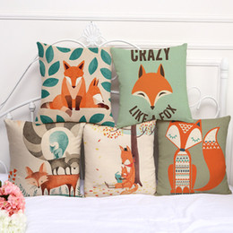cojines de sofá zorro Rebajas Fundas de cojines Lovely Cartoon Fox Funda de Almohada de Algodón de Lino Almohada Cuadrada Dormitorio Sala de estar Sofá Decorativo Throw Pillow Case