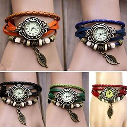 Wholesale little trees wholesale - 2017 2018 New Retro Cow Leather watches, Retro little tree leaves charms dress watch for women 200PCS