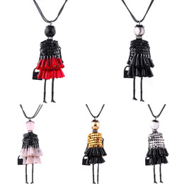 Wholesale crystal doll necklace - Anenjery Handmade Dress Crystal Piece Sequins Girl Doll Pendant Long Necklace Sweater Chain collier Women Accessories N43
