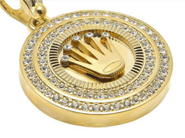 Wholesale hip hop crown pendants - Men Diamond Crown Round Male Hip-Hop Gold Plated Crown Pendant Alloy Tag Necklace Cuban Chain