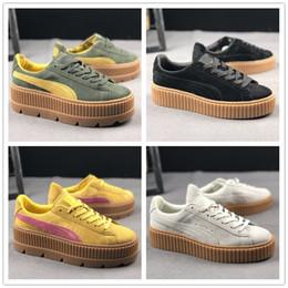 d34661518f375 2018 New Charity Fenty Chaussures à talons compensés en daim pour femmes  Fenty Creepers de Rihanna Chaussures PM Chaussures de sport Baskets avec  boîte ...