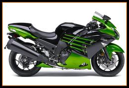 Wholesale kawasaki zx14r - For Kawasaki ZX-14R 2012 - 2015 Motorcycle Bodywork High Quallity ZX-14R 2012 - 2015 Hulls Plastic Motorbike Cover Black Green Stripe