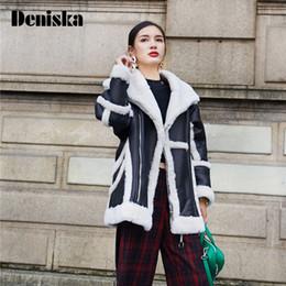 Wholesale wool coat leather sleeves women - DENISKA 2017 New Shearling Sheepskin Coats Women Thick Suede Jackets Long Sleeve Overcoats Winter Lambs Wool Long Jacket Females