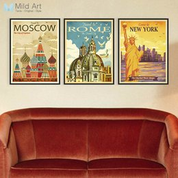 Wholesale wall poster new york - Vintage Retro Triptych New York Rome Moscow City Canvas A4 Large Art Print Poster Wall Pictures Home Decor Painting No Frame
