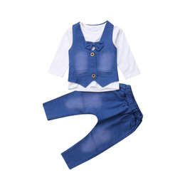2fa049bc7fa newborn baby girl jeans Promo Codes - Newborn Kid Baby Girl Boy Clothes Set  Autumn Bow