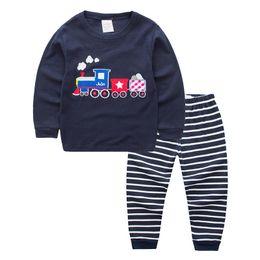 Automne Enfants Tee-shirt À Manches Longues Rayé Pantalon Enfants Maison Porter Des Matières Douces Piste Imprimer Petit Garçon Pyjamas Outfit ? partir de fabricateur